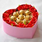 11 red roses, and 8 chocolates, in heart box(box vary locally)