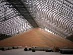 Grain Storage Building inside showing conveyor and open space.