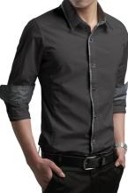 New style Contrast Trim Long-sleeve Mens Shirt series includes various colors and sizes on offer. Featuring modern slim fit silh