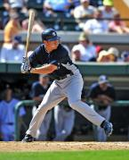 Founder of Pro Baseball Insider, Doug Bernier, at bat for the New York Yankees, Spring Training 2012