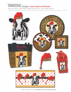 A chic cow showing off a leopard santa hat. Includes designs for paper plates, napkins, gift bag, tote bag and border.