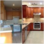 Before and After kitchen remodel, using cherry cabinets and granite countertops.