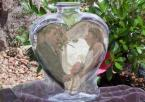 Bride and groom displayed in heart vase