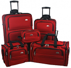 This economical 5 piece luggage set by Samsonite includes 26in. Upright, Carry-On Upright, Duffel, Boarding Tote, and Toiletry K