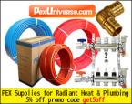 PEX tubing, PEX tools, PEX manifolds and other hydronic floor heating supplies.