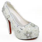 Custom make 2013 Luxury White Diamonds pearl high heels fashion lady shoes