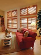 Four Plantation Shutters With Hidden Tilt. Outside Mount.