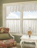 Cedar Rose floret- window treatments valance. The appeal of simplicity, clean and crisp and enriched with lavish lace detail.